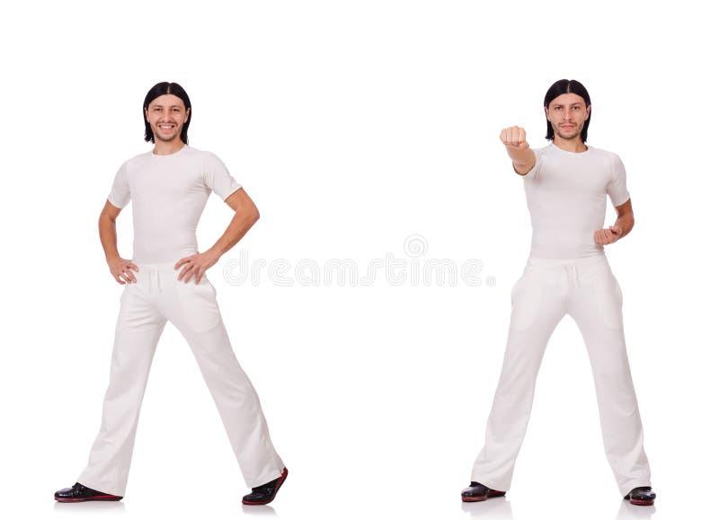Man in witte sportkleding royalty-vrije stock afbeelding