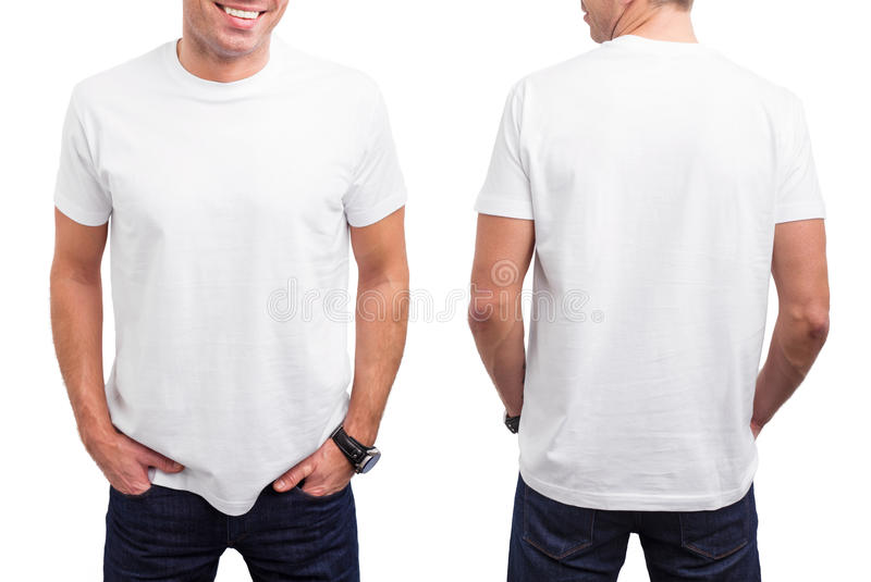 Man witte T-shirt stock foto's
