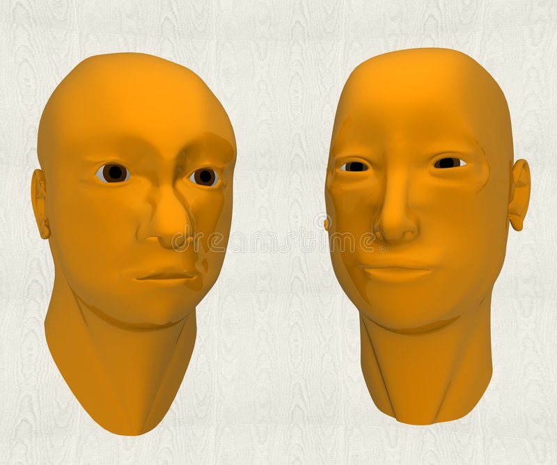 Man and woman in 3d vector illustration