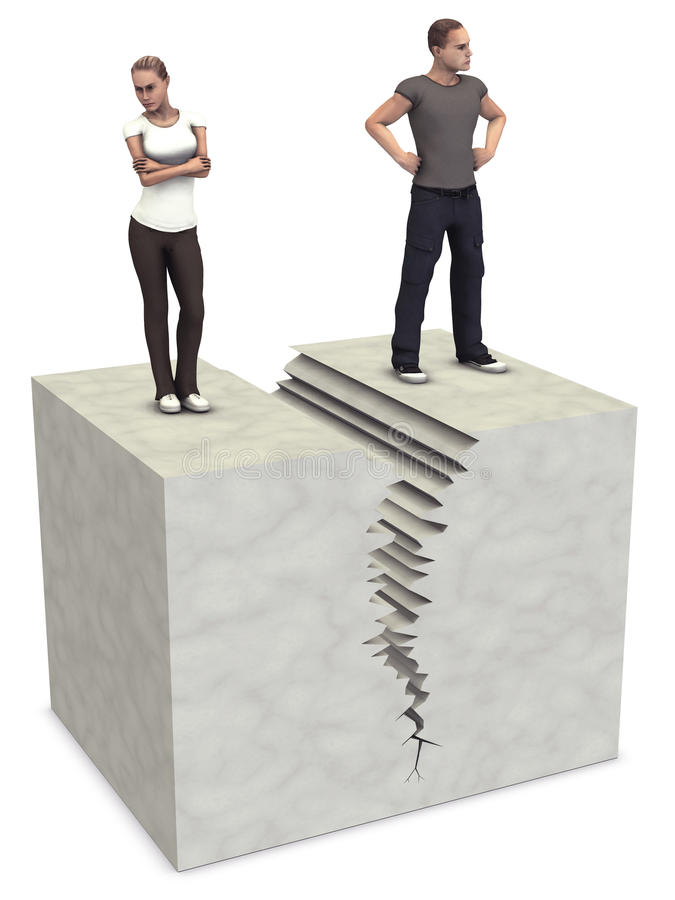 Download Man Woman 3D Couple Split Divorce Crack Break Up Stock Illustration - Image: 13929546