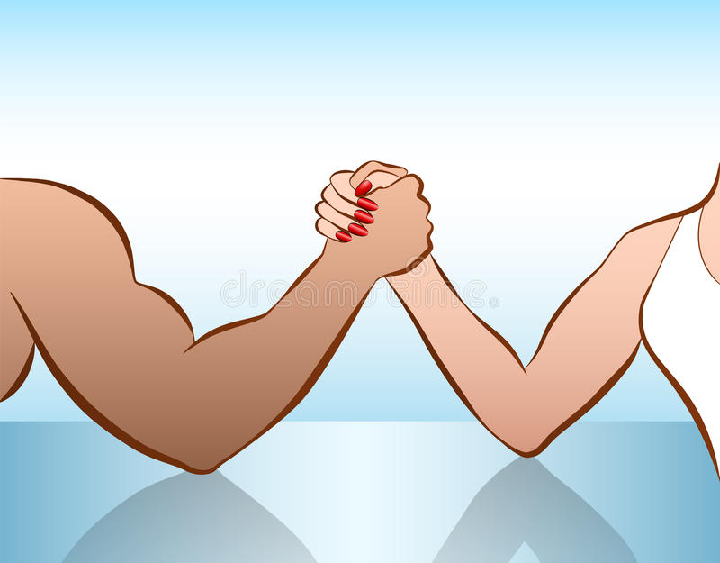 Man Woman Arm Wrestling Battle Of The Sexes vector illustration
