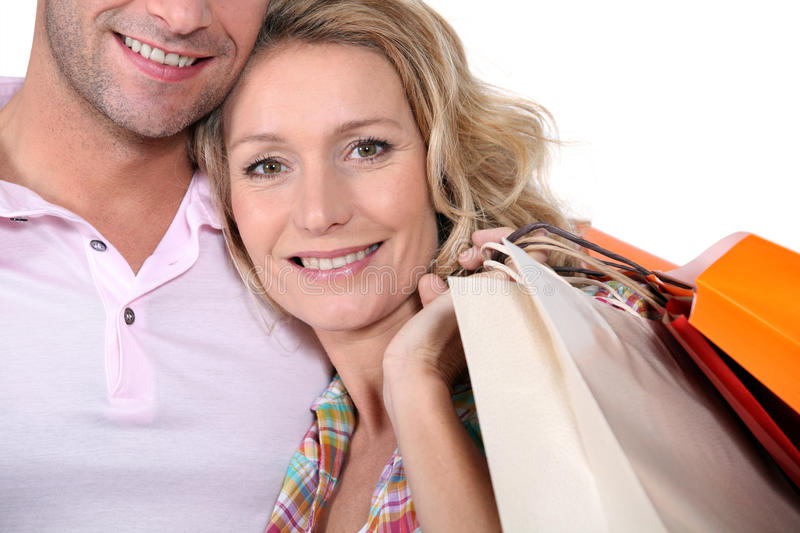 Man And Woman With Bags Stock Photography