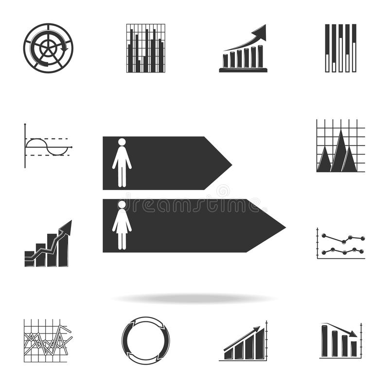 man and woman bar chart icon. Detailed set of Trend diagram and chart icons. Premium quality graphic design. One of the collection stock illustration