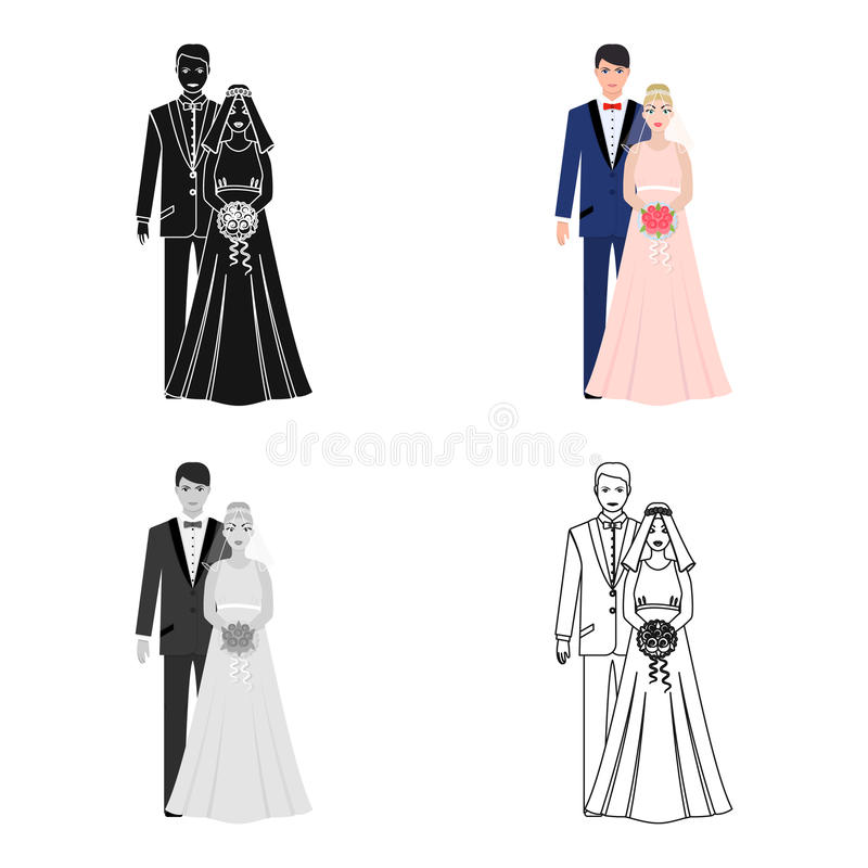 A Man And A Woman In Beautiful Outfits The Bride And Groom At The