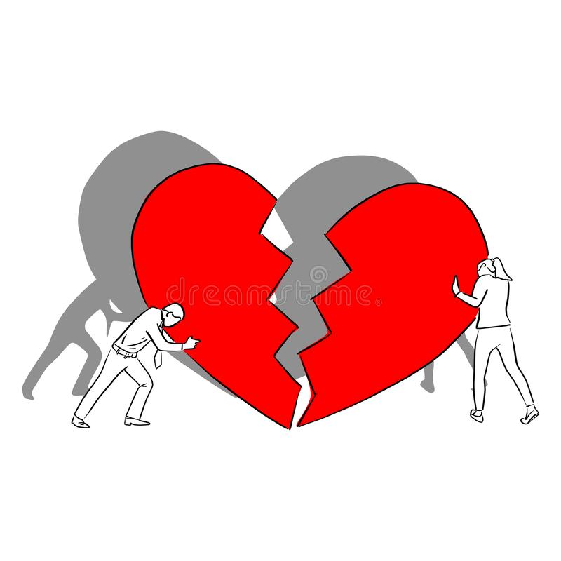 Man and woman with big red broken heart vector illustration sketch doodle hand drawn with black lines isolated on white background royalty free illustration