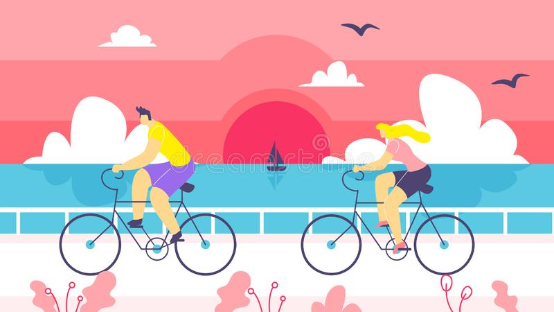 Man and Woman on Bike Ride Along Coast Cartoon. Boy and Girl Spend Their Time Riding their Bicycles against Background Sunset over Sea. In Foreground Couple vector illustration