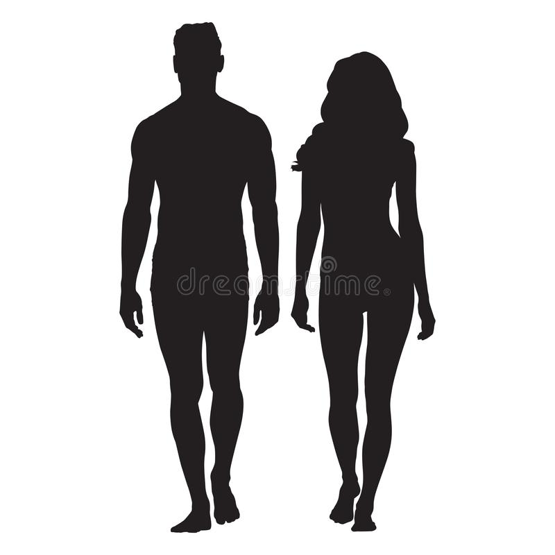 Man and woman body silhouettes. Walking people royalty free illustration