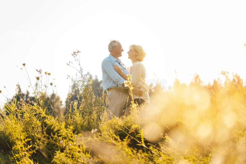 Man and woman, both seniors, embracing each other. On a meadow royalty free stock image