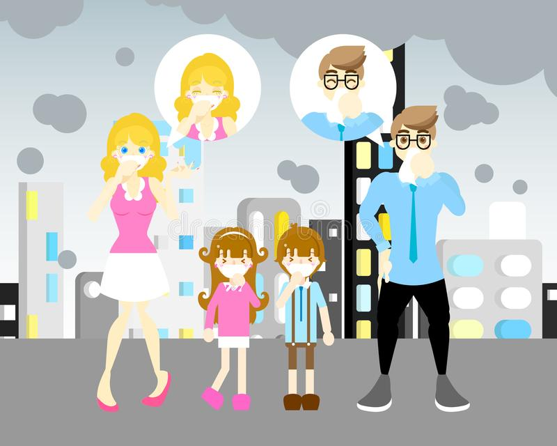 Man and woman with boy and girl with mask sneezing,coughing, air pollen concept vector illustration