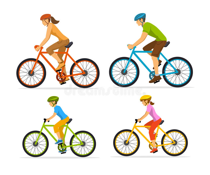 Man , woman, boy and girl riding sport bikes. Family outdoor activity. Vector illustration stock illustration