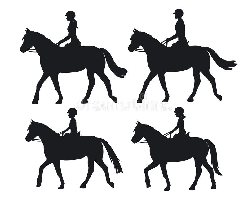 Man woman boy and girl silhouettes riding horses. vector illustration