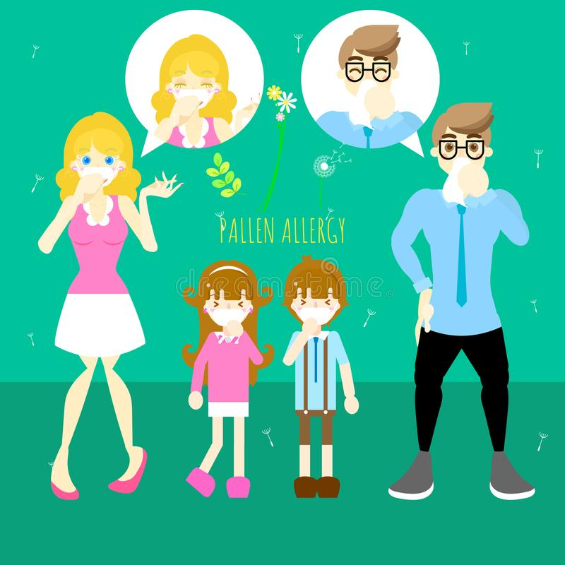 Man and woman with boy and girl sneezing, pollen allergy concept. Flat vector illustration character design stock illustration