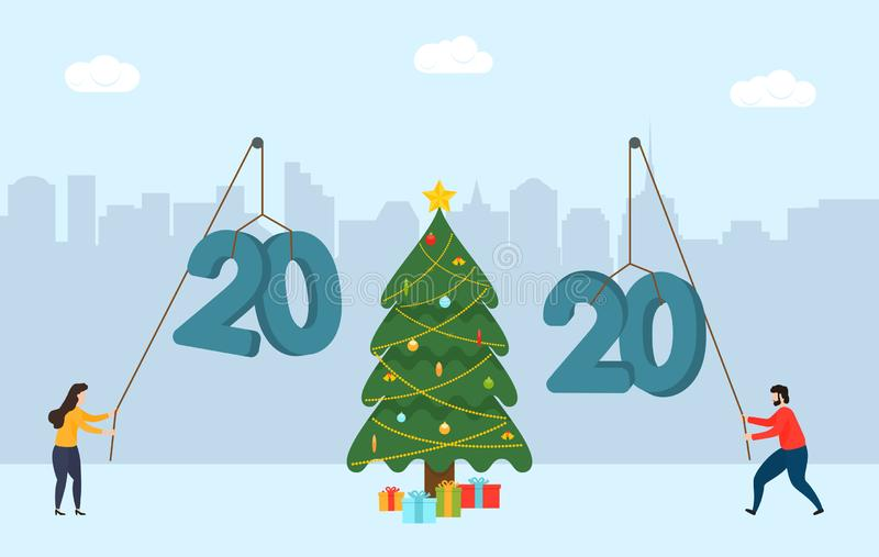 Man and woman building a numbers 2020 against the background of the city. New Year flat illustration with Christmas tree and gift stock illustration