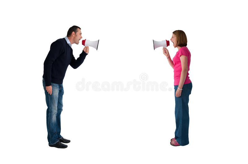 Man and woman bullhorn isolated. Man and women arguing using megaphone bullhorn isolated on white stock images