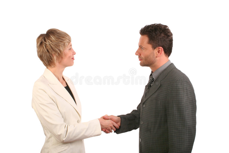 Man and woman business handshake royalty free stock photos