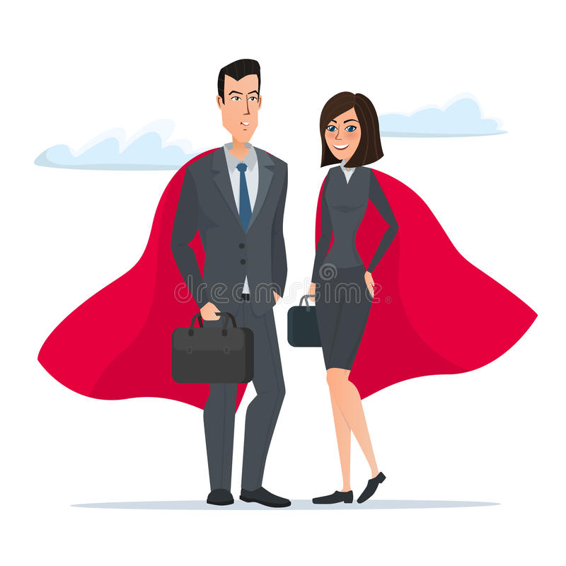 Man and woman business superheroes. Cartoon Super businessman. Stands . Business concept. Vector illustration on white background in flat style royalty free illustration