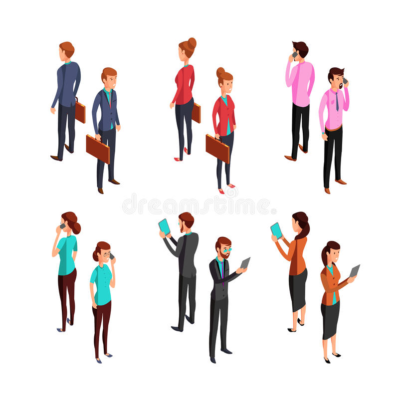 Man and woman businessman. Isometric 3d standing young female and male office persons. Vector characters set. Man and woman businessman. Isometric 3d standing royalty free illustration
