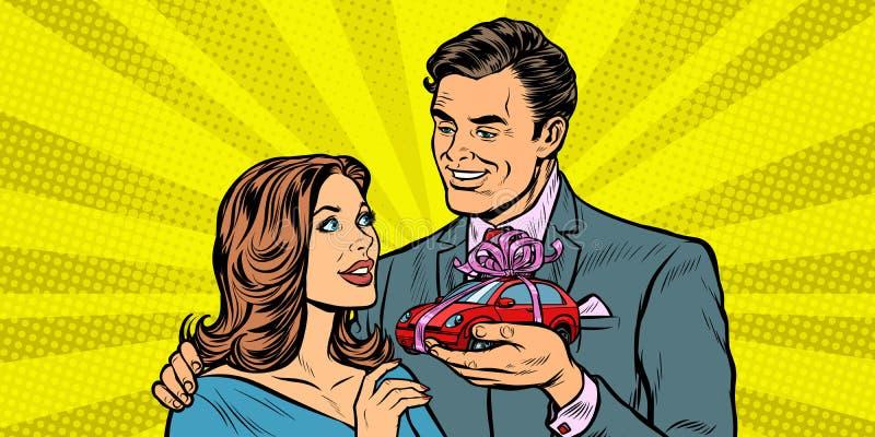 Man and woman, car gift royalty free illustration