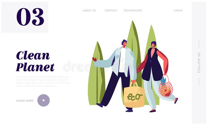 Man and Woman Carry Products in Paper and String Bags. Eco Natural Packing for Goods. Ecologically Safety Containers for Food. Website Landing Page, Web Page stock illustration