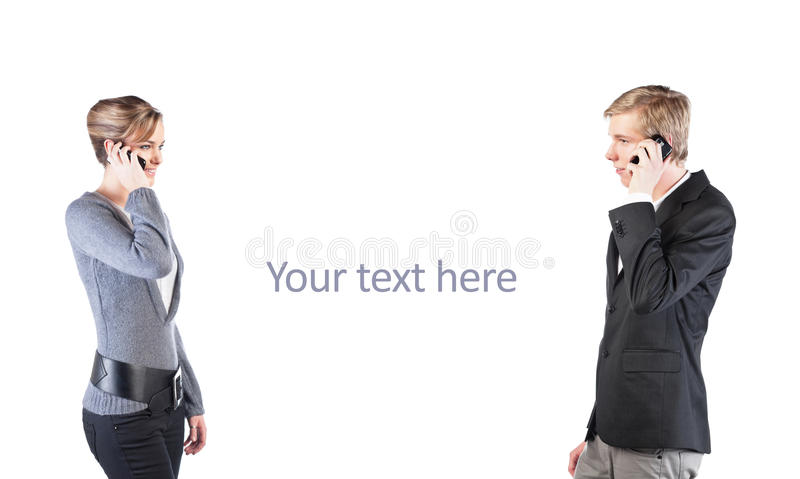 Man And Woman With Cellphones Stock Image