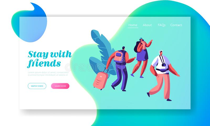 Man and Woman Character Arrive at Hostel Building with Backpack Landing Page. International Travel Concept. People Booking Hotel. For Holiday Website or Web royalty free illustration