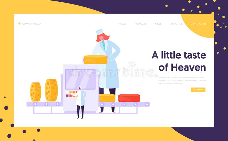 Man Woman Character at Cheese Packing Factory Line Landing Page. Organic Milk Food Making Concept. Pasteurization Machine vector illustration