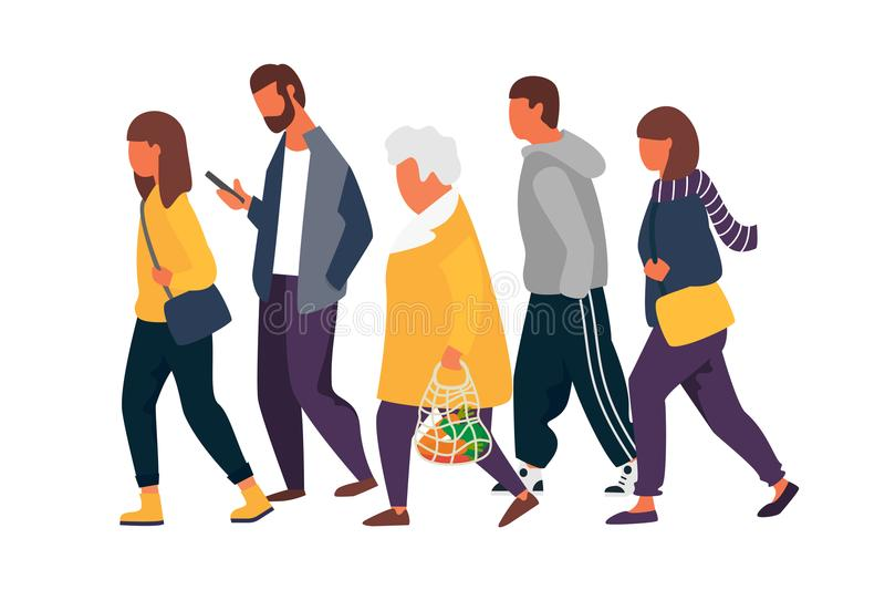 Man and woman characters. Crowd of people walking in autumn clothes. Vector illustration.  stock illustration