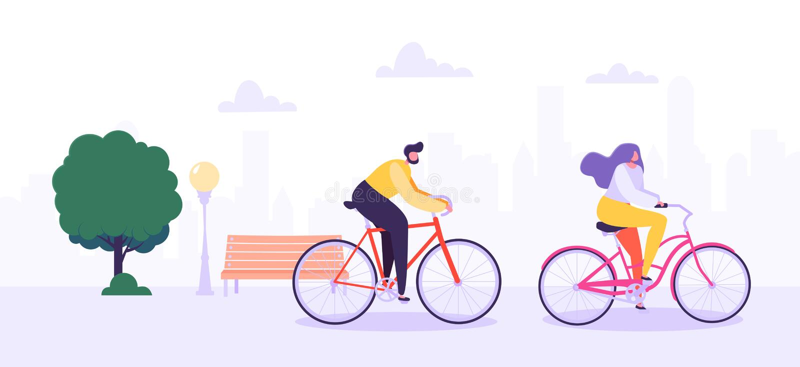 Man and Woman Characters Riding Bicycle in the City Background. Active People Enjoying Bike Ride in the Park royalty free illustration