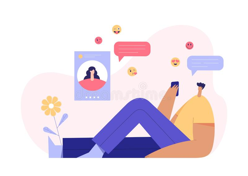 Man and woman chatting concept, modern character profile on display and emoji on the background. Online dating application. Man and woman video chatting concept stock illustration