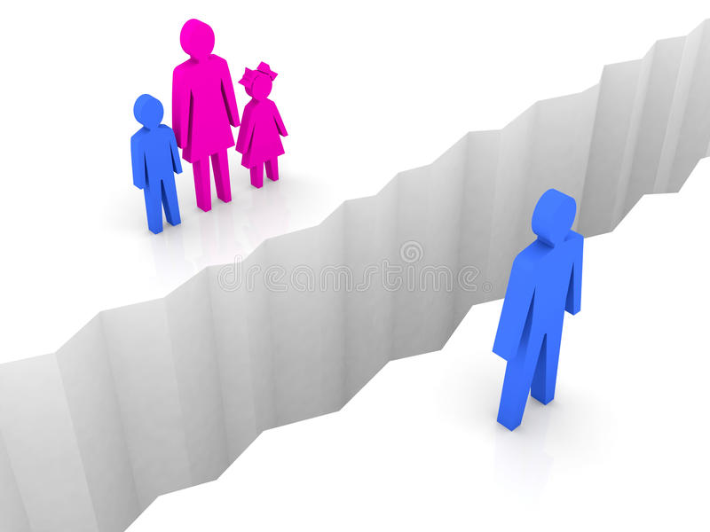 Download Man And Woman With Children Split On Sides, Separation Crack. Stock Images - Image: 32272214