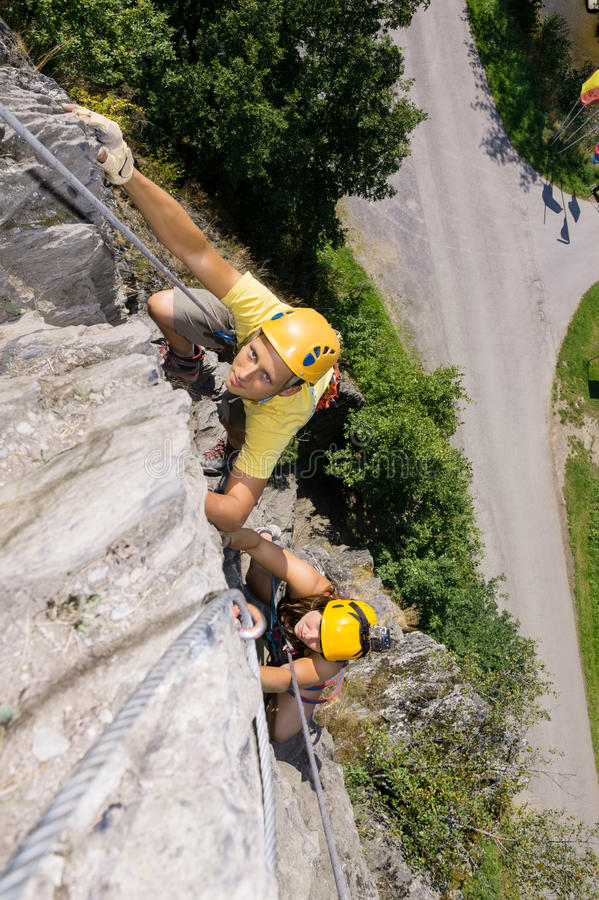 Download Man And Woman Climbing Rock Stock Image - Image of extreme, friendship: 33671615