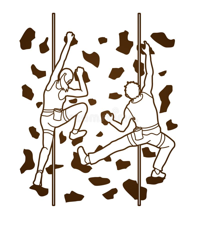 Man and woman climbing on the wall together, Hiking indoor. Illustration graphic vector vector illustration