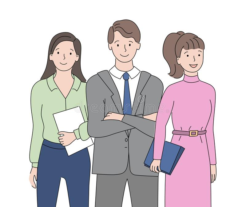 Man and Woman Closeup View, People Employee Vector. Employees closeup view, drawing people in suit holding documents, business colleagues, successful teamwork royalty free illustration