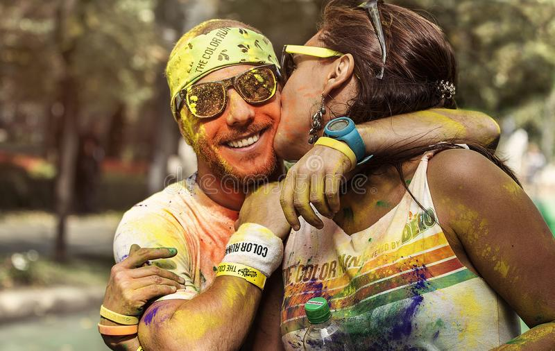 Lovely romantic couple at Color Run Bucharest stock photo