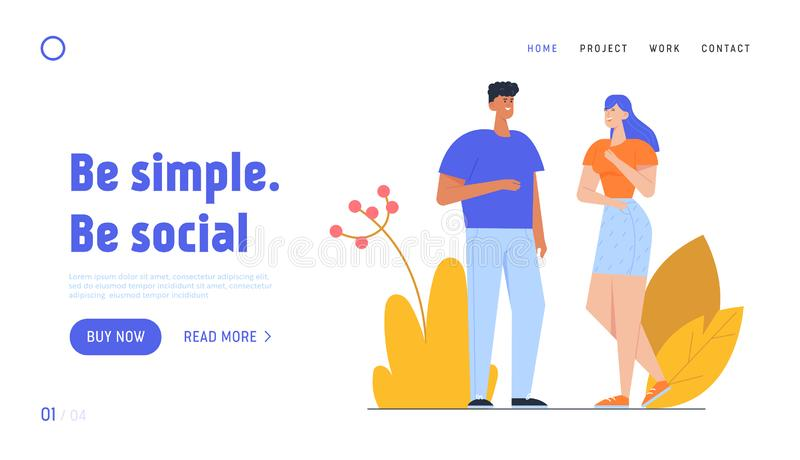 Man and Woman Connection, Good Relation Website Landing Page. Male and Female Characters Communicating. Couple of Young People Speaking, Talking Web Page vector illustration