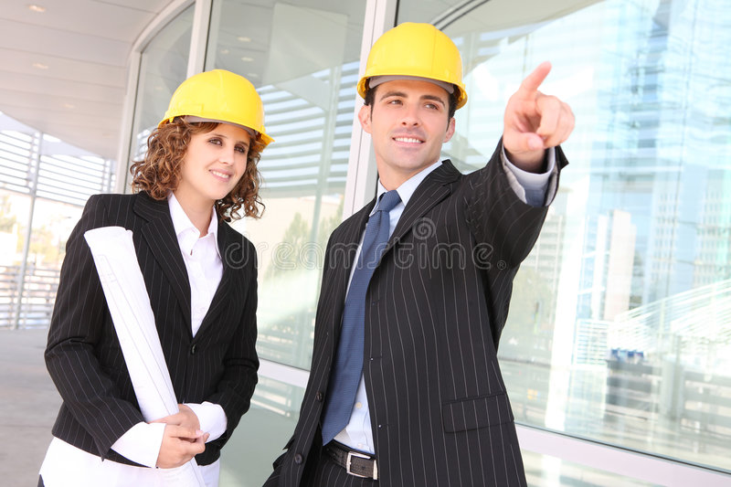 Man and Woman Construction royalty free stock photos