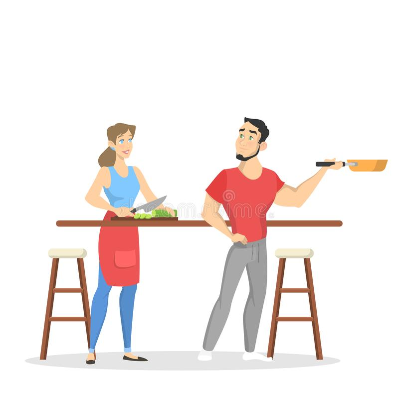 Man and woman cooking together. Husband and wife vector illustration