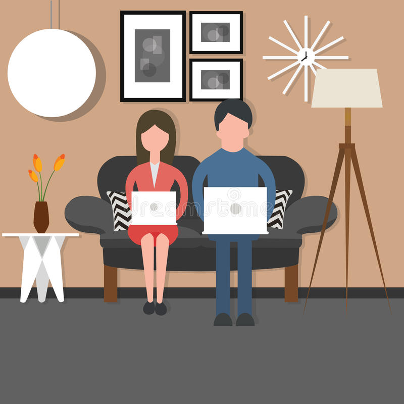 Man woman couple bussy working on laptop sitting couch chair living room stock illustration