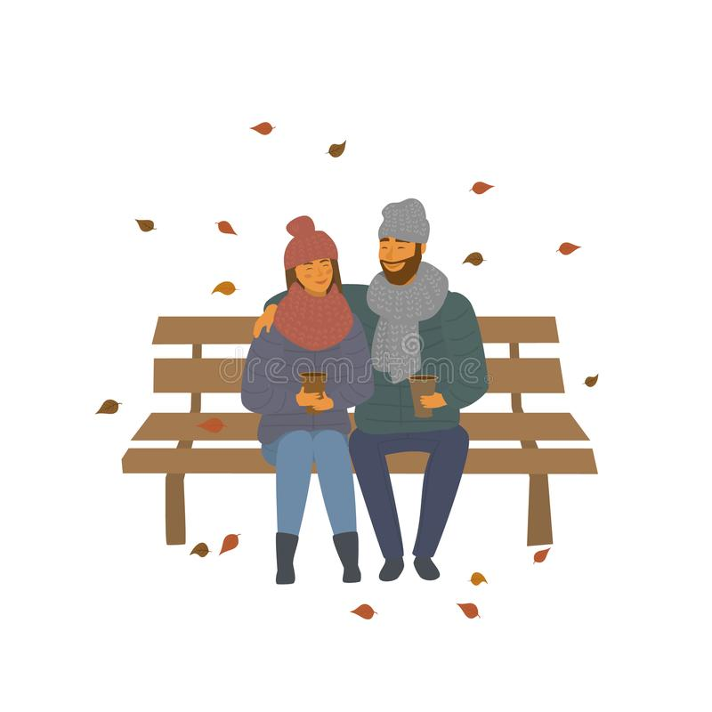 Couple on a date in the autumn fall park sitting on a bench scene isolated vector illustration royalty free illustration