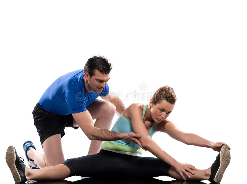 Man woman couple exercising workout Body Building royalty free stock image