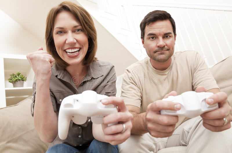 Download Man Woman Couple Playing Video Console Game Stock Image - Image: 19042181