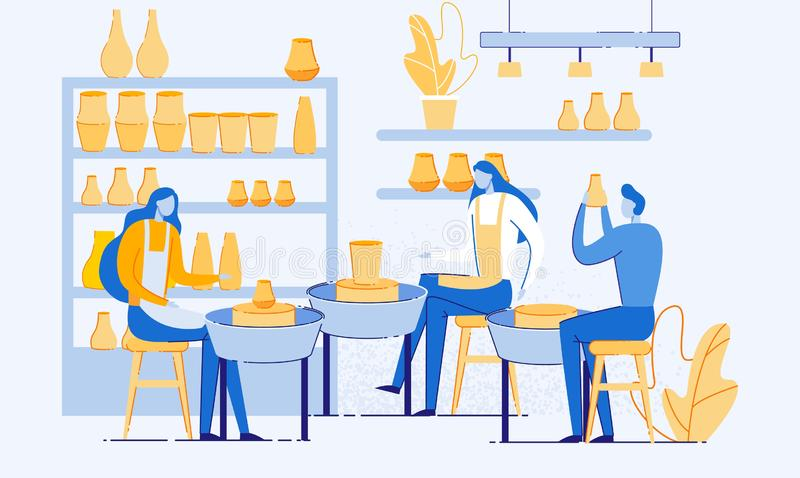 Man and Woman Creating Pots and Pottery Workshop. stock illustration