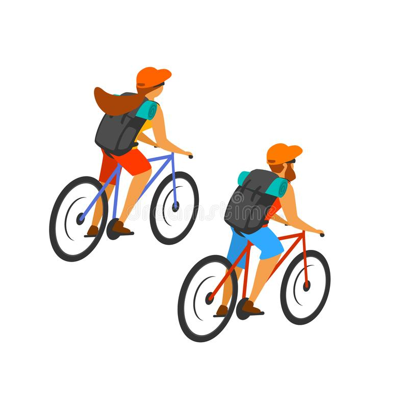 Man and woman cross country mountain biking isolated. Vector graphic royalty free illustration