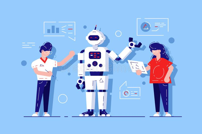 Man and woman developing chat bot. AI simulating conversation with human users over internet illustration. Online talking with Robot. Virtual mobile stock illustration