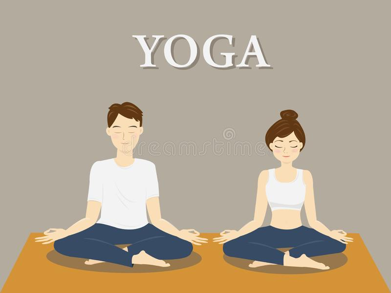 The man and woman doing lotus pose yoga. vector illustration