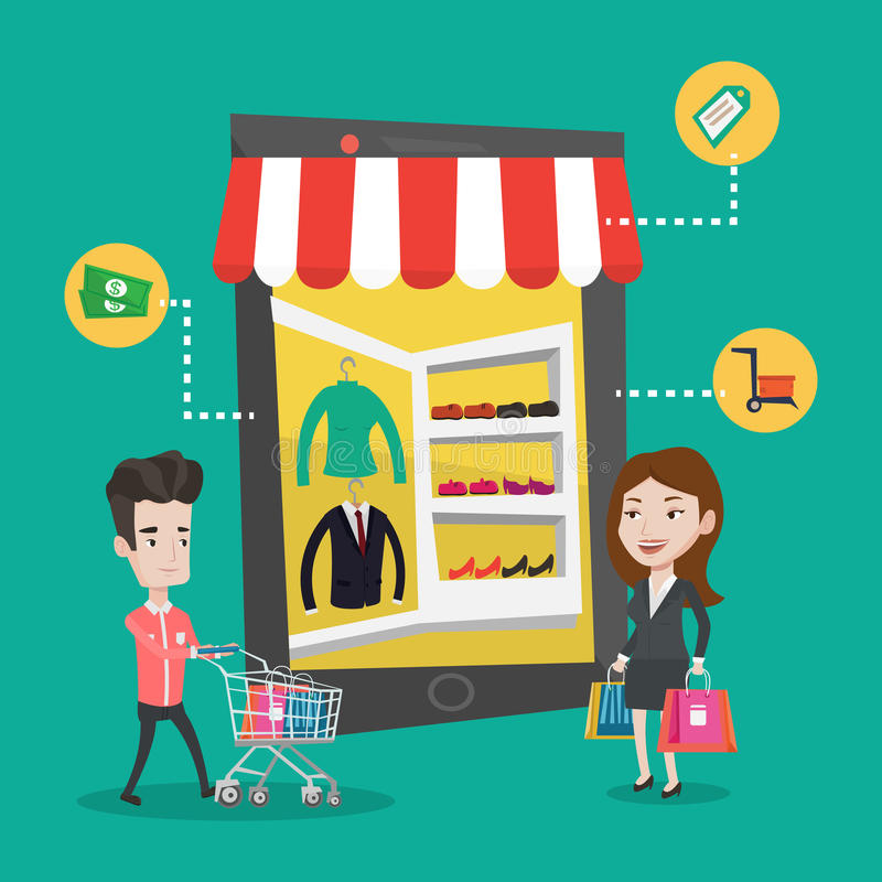 Man and woman doing shopping online. stock illustration