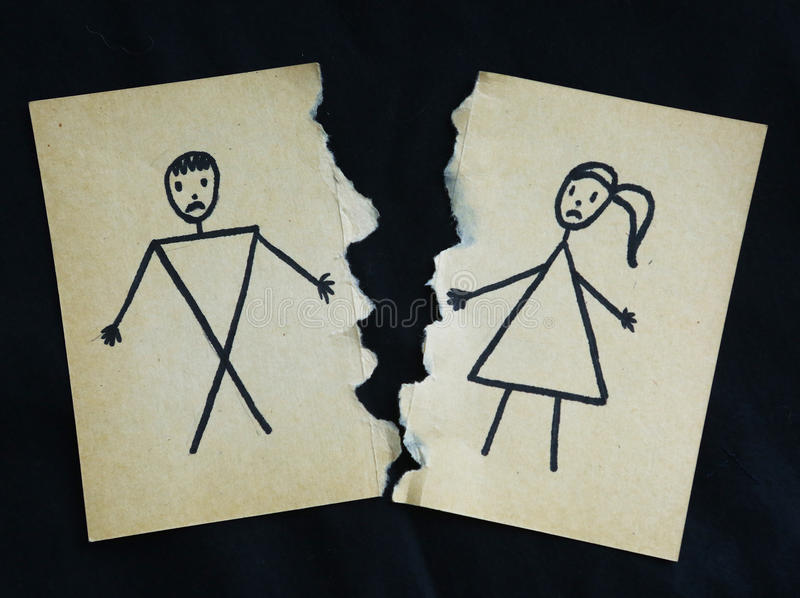 Download Man And Woman Drawing Torn Apart Stock Illustration   Illustration  Of Married, Apart: