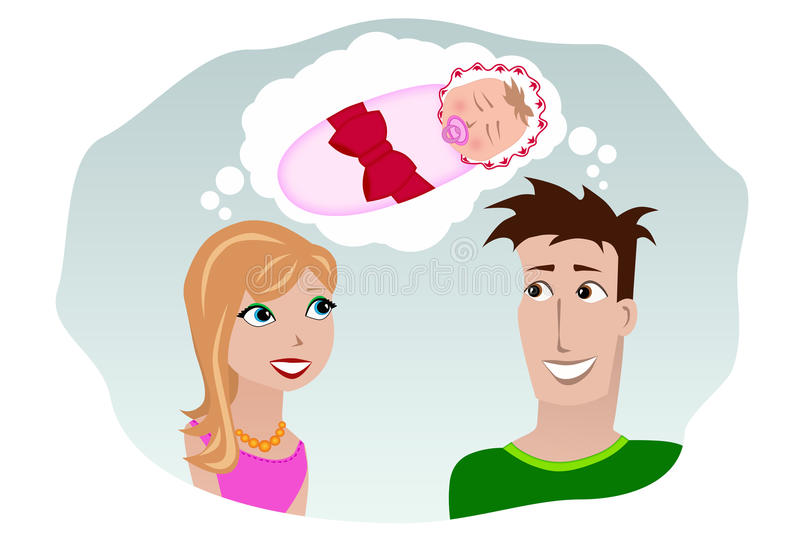 A man and a woman dreaming of a child stock illustration