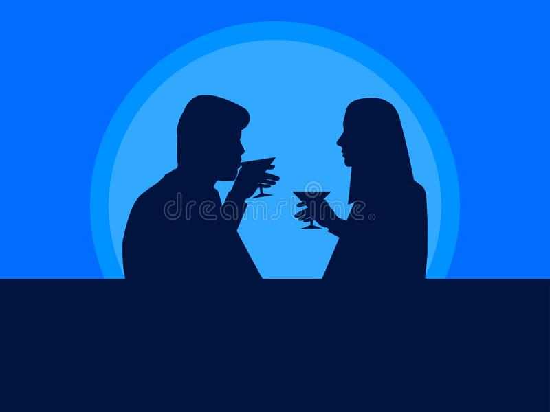 Man and woman drink cocktails. The guy and the girl on a date, the contour of people. Vector. Illustration stock illustration