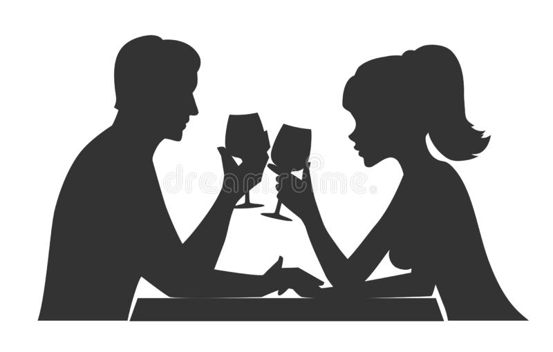 Man and woman drink wine. Man and woman clanging wine glasses with champagne. Silhouette illustration stock illustration